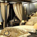 Интерьер спальни в черно-золотом цвете