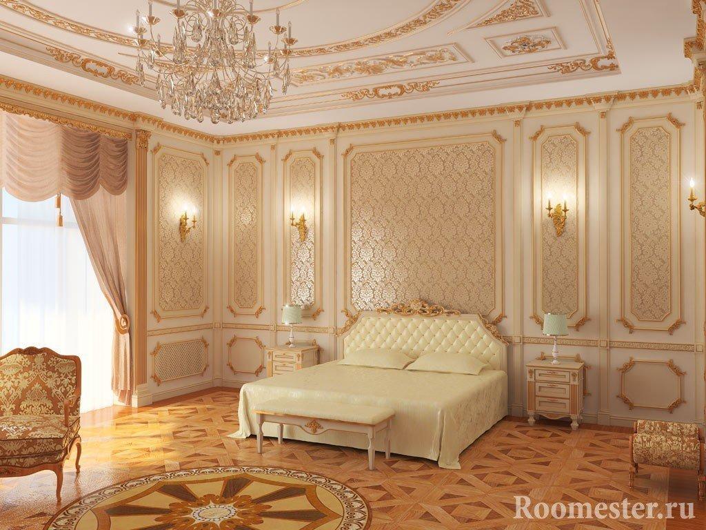 Белые потолок и стены спальни с золотыми узорами