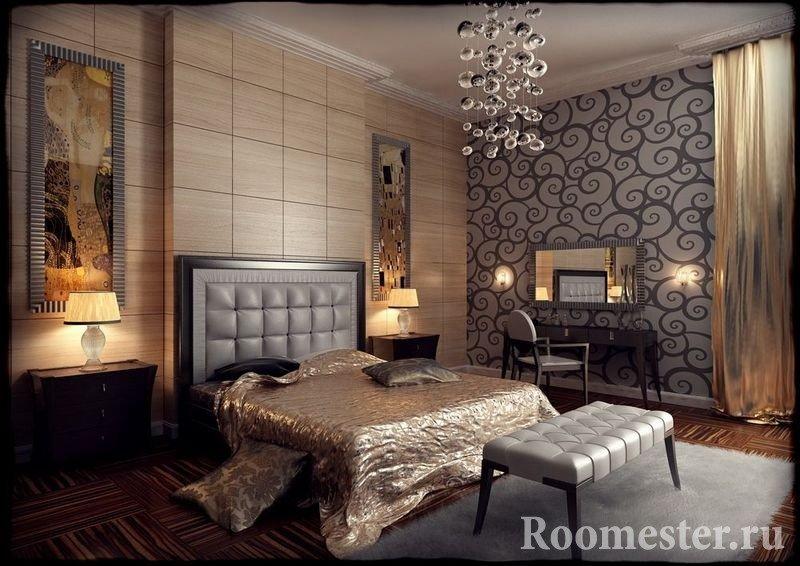 Комната с кроватью и торшерами