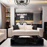 Гостиная с белыми диванами