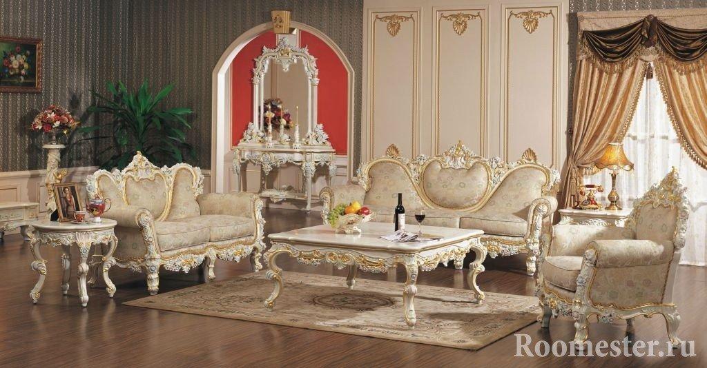 Сочетание белой мебели и серых стен