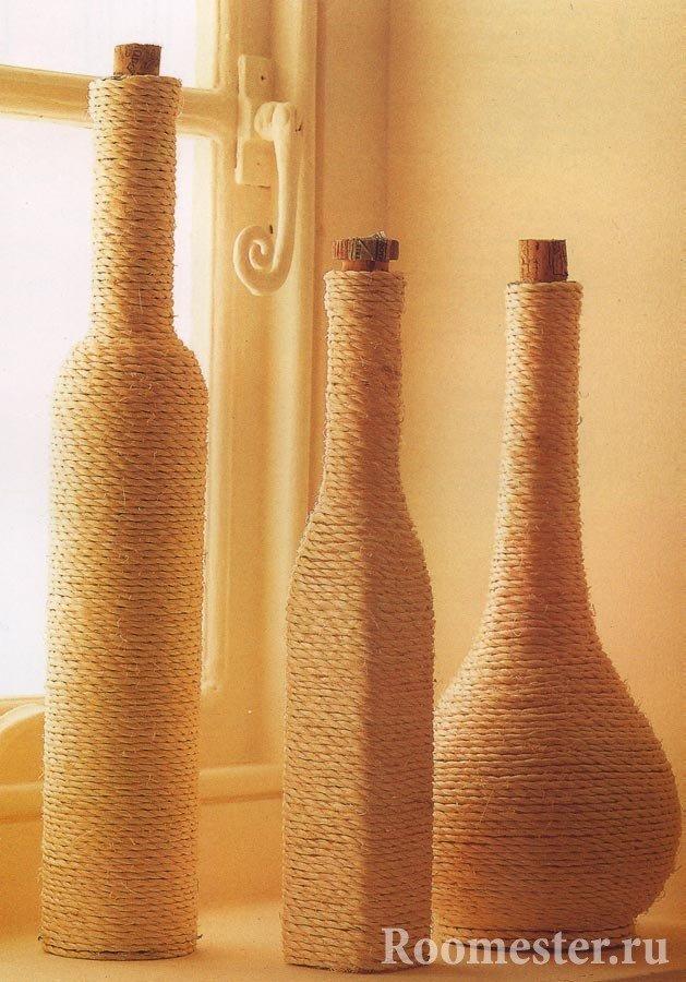 декор пляшок шпагатом фото солнца