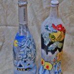 Новогодние рисунки на бутылках