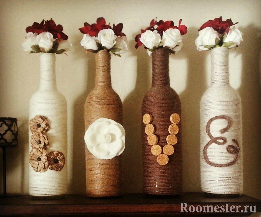 Бутылки с розочками