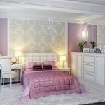 Бело-фиолетовый интерьер спальни