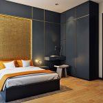 Спальня с бело-серым дизайном