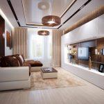 Гостиная с коричнево-белым дизайном