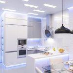 Черные люстры в белом интерьере кухни