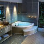 Угловая ванна со ступенькой