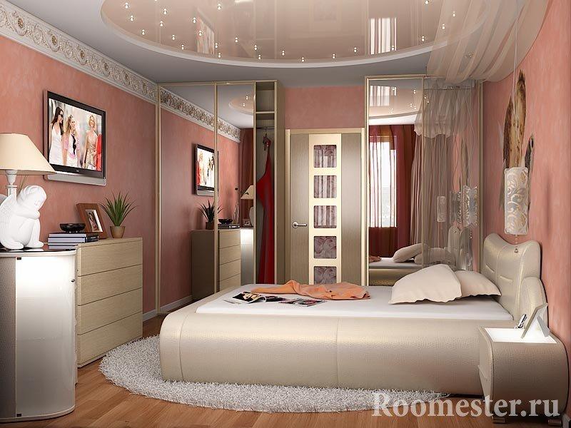 Спальня с розовыми стенами