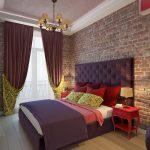 Стены под кирпич в спальне