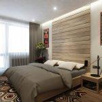 Декор из дерева на стене в изголовье кровати