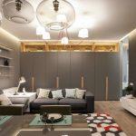 Серый дизайн гостиной