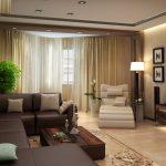 Столик из дерева и коричневый диван
