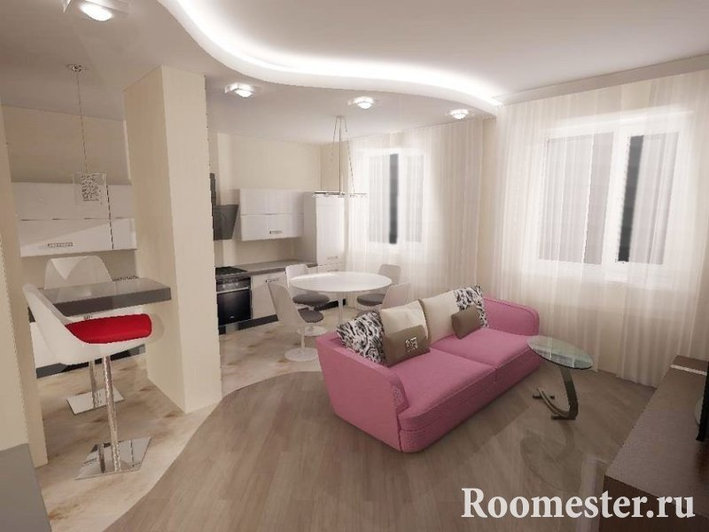 Розовый диван на светлой кухне