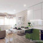 Мебель в зеленом оформлении на кухне