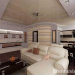Белый диван с коричневыми подушками