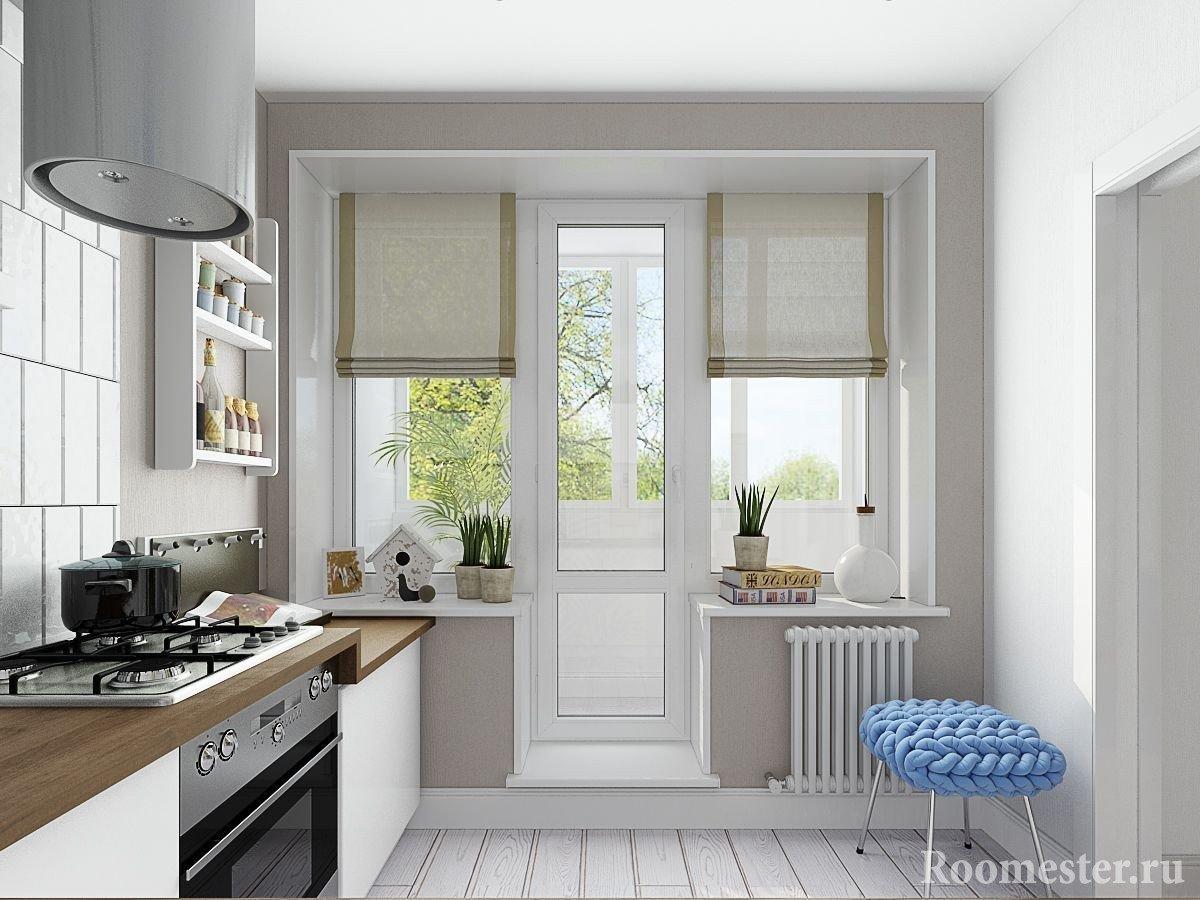 Белый пол на кухне