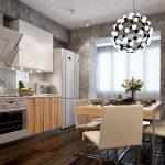 Необычная люстра на кухне