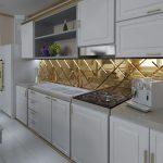 Белая мебель и золотая плитка