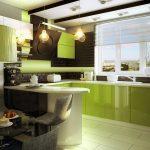 Салатовая кухонная мебель