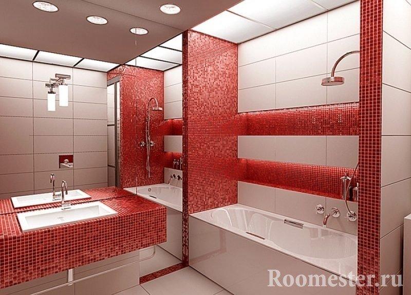 Красная мозаика в ванной