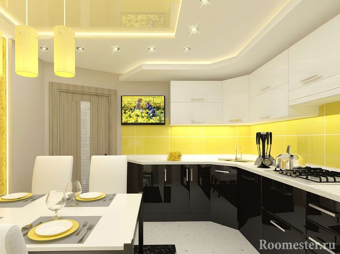 Желтая кухня и белая мебель