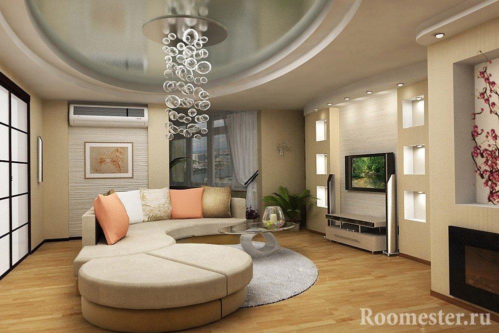Угловой диван и столик напротив телевизора