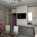 Стена с плиткой под камень на кухне