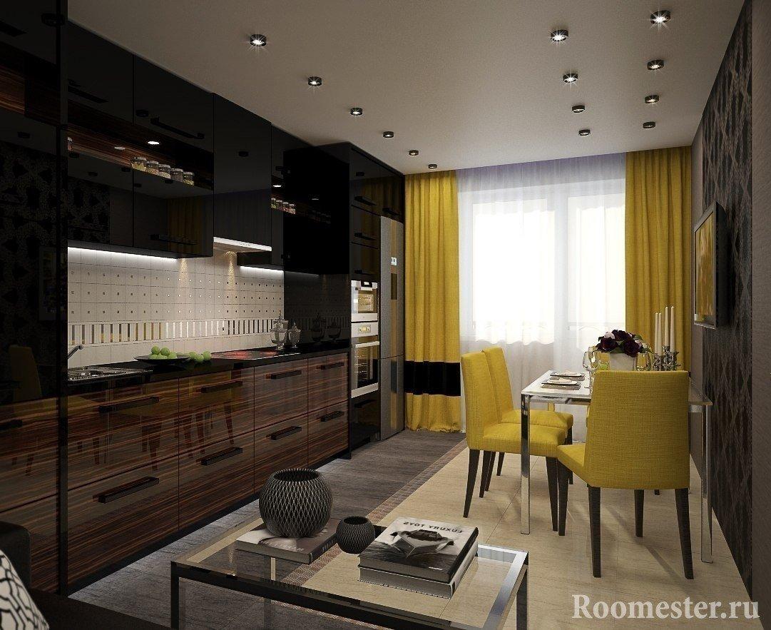 Черно-желтый интерьер кухни