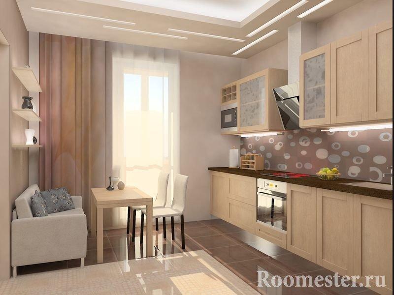 Кухня с интерьером в мягких цветах