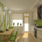 Кухня с фисташково-белым интерьером
