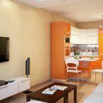 Оранжевая кухонная мебель в интерьере