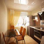 Стол со стеклянной крышкой на кухне