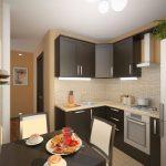 Бежевые стены и коричневая мебель на кухне