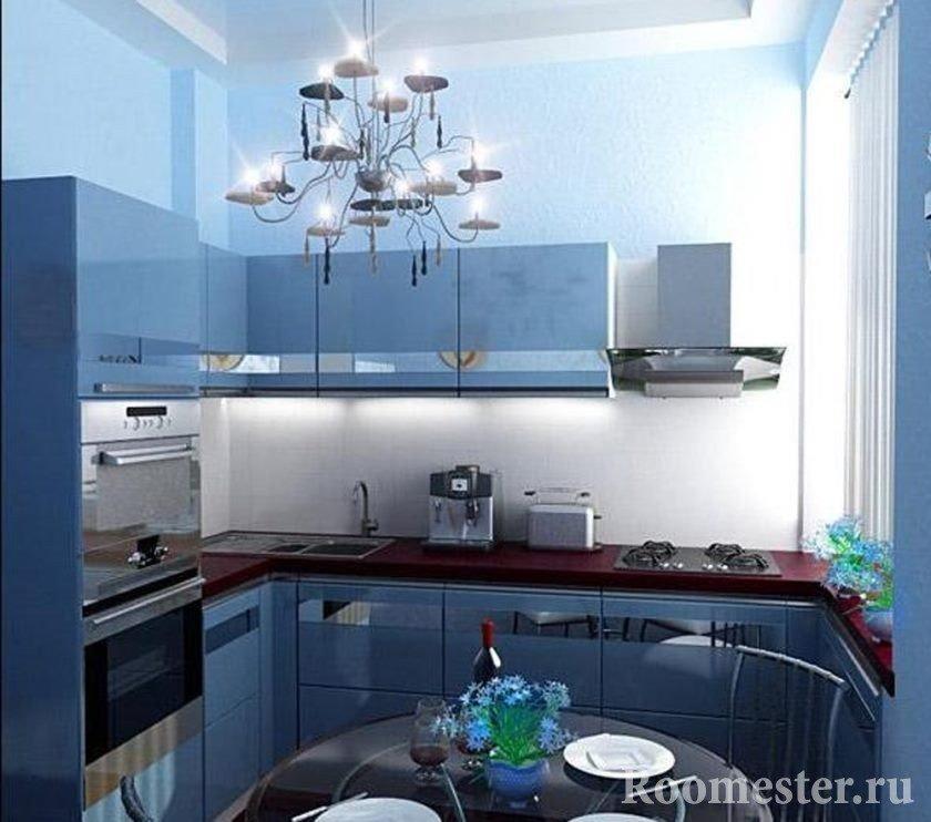 Синий интерьер кухни