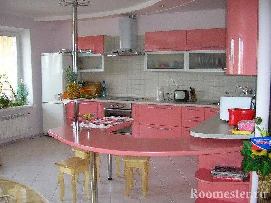 Бело-розовая кухня