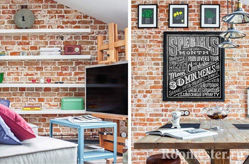 Картины и полки на стенах