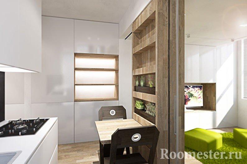 Кухня и гостиная через перегородку