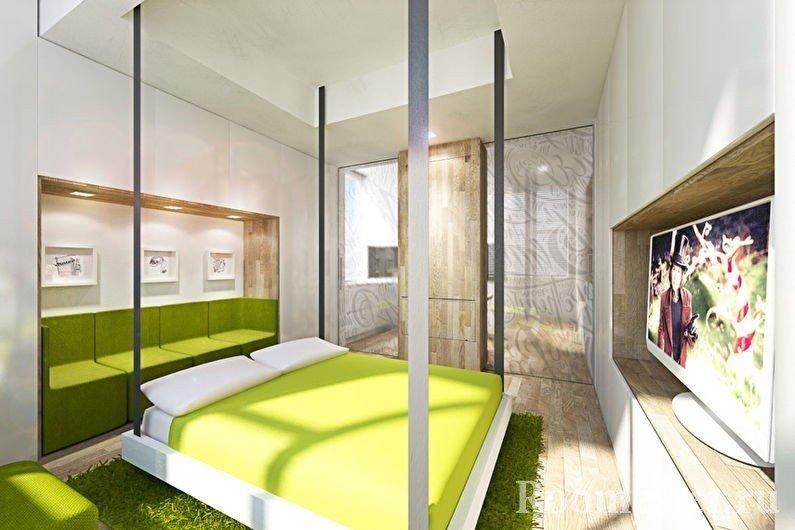 Бело-салатовый интерьер спальни