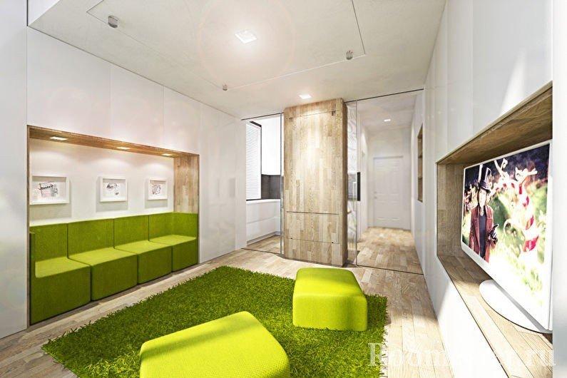 Салатовые пуфики, диван и ковер в гостиной