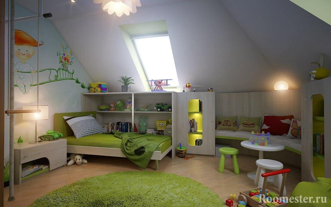 Бело-салатовый интерьер детской