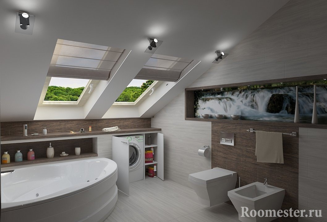 Угловая ванна на мансарде