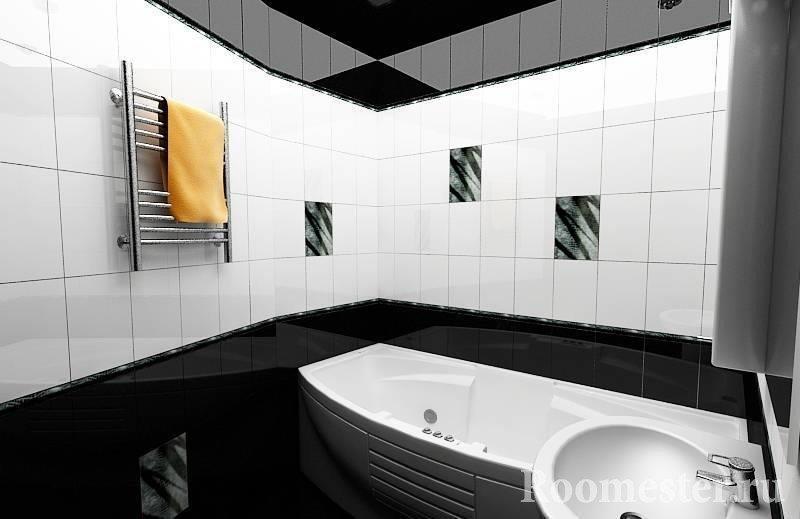 Ванная с черно-белым интерьером
