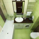 Салатовый интерьер ванной