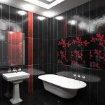 Красно-черный интерьер ванной