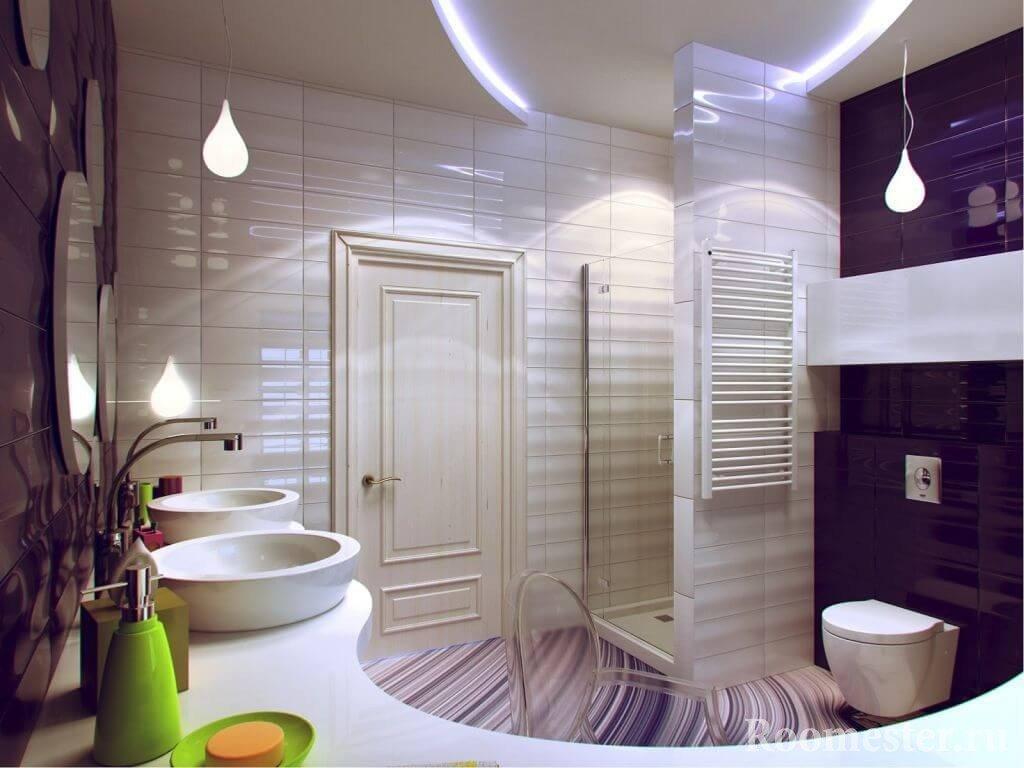 Подвесные светильники в ванной