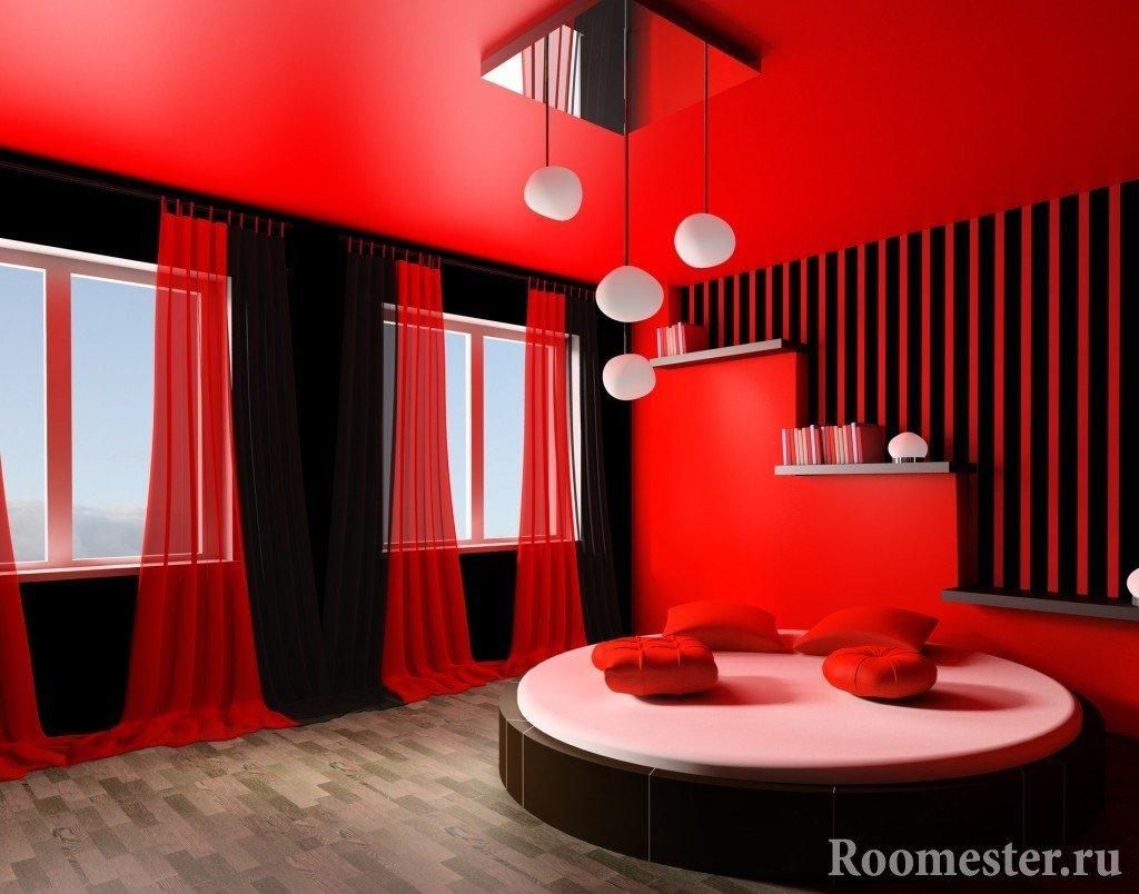 Красно-черный интерьер комнаты