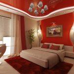 Точечные светильники на потолке спальни