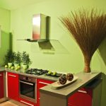 Фисташково-красный интерьер кухни